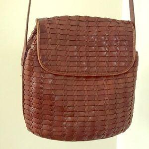 Fossil brown leather purse basket weave vintage
